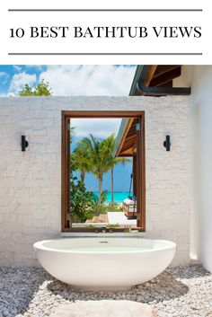 Take relaxation to the next level with a stay at one of these luxe villa rentals, where you can soak in the suds—and the jaw-dropping scenery—at the same time. Best Bathtubs, Outdoor Pavilion, Outdoor Bathrooms, Luxury Villa Rentals, Beautiful Villas, Turks And Caicos, Maine House, Estate Homes, Luxury Travel