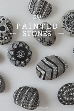 DIY painted stones. Bring some bohemian style decoration into your home with these tribal painted stones. They make a great inexpensive and unique room decor.