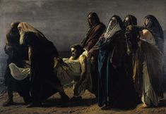 Antonio Ciseri - The Entombment (1883) Joseph of Arimathea, Nicodemus, Jesus, John, Mary the mother of Jesus, Mary Magdalene, Mary - the Blessed Mother's sister