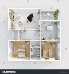 #3d #interior #rendering #plan #view of #furnished #home #apartment: room, bathroom, bedroom, kitchen, living-room, hall, entrance, door, window,