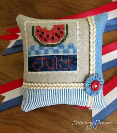 "Cute way to finish a cross-stitch piece.   (...cr....like the little watermelon cross stitch for patriotic holidays....cute.... Lizzie Kate makes this chart...""Flip It Stamp July"".....cute to put into a patriotic bowl of ornaments)"