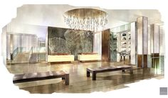 Artist rendering of renovated Thomas Center Great Room