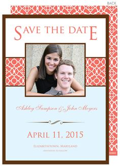 Coral Photo Save the Date Announcements
