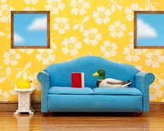mallard duck art, blue and yellow, diorama - Nice Weather For Ducks 8 x 10 on Etsy, $20.00