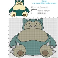 Snorlax Pokemon first generation 143 free cross stitch pattern 119 x 96 stitches 5 colors DMC