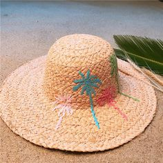2a4a290ee253f 100% Raffia Straw Handmade Weave Women Dome Sun Hat For Lady Summer Beach  Embroidery Tree Bucket Sunbonnet Size 56-58CM  orc32894457015  -  42.05