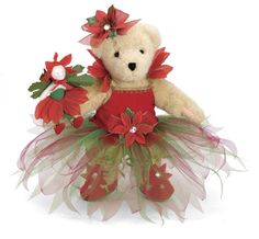 Couture Holiday Poinsettia* Muffy Vanderbear [04-5835] - $75.00 : Village Bears, Your Friendly Bear Store