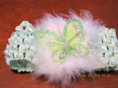 GREEN FEATHER ORGANZA BUTTERFLY BABY CHILD & LADY HAIR BOW CLIP & HEADBAND B4 #Handmade