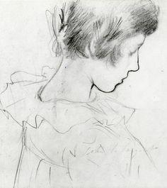 John Singer Sargent ~ Dorothy Barnard(study for Carnation, Lily, Lily, Rose), c.1885 (pencil)