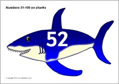 Numbers 51-100 on sharks (SB11203) - SparkleBox
