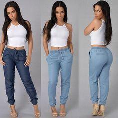 Women Solid Drawstring Elastic Waist Jeans Harem Pants Ladies Casual Middle Waist Denim Trousers Plus Size Long Pencil Pants – Hot Products Casual Jeans, Slim Jeans, High Jeans, High Waist Jeans, Denim Jogger Pants, Blue Denim Jeans, Harem Pants, Trousers, Buy Jeans Online