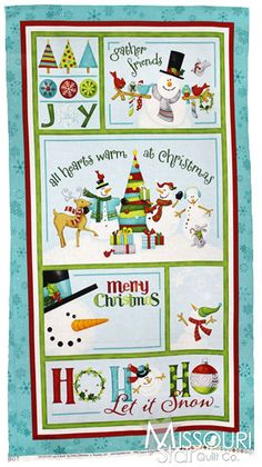 Ho Ho Ho Let It Snow - Ho Ho Ho Panel Aqua Yardage from Missouri Star Quilt Co