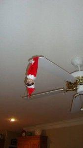 Elf on the Shelf HUGE list of ideas.  Hang Elf on the fan!