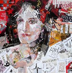 Example of Nancy Standlee Fine Art: Matt, a Torn Paper Collage Portrait Painting by Texas Collage Artist, Nancy Standlee and a One Day Sketchbook Journaling Workshop. Collage Portrait, Collage Artists, Magazine Collage, Magazine Art, Altered Canvas, Altered Art, Mixed Media Collage, Collage Collage, Painting Collage
