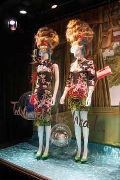 Ted Baker SS15 windows - Regent St, London. MA creates an underwater world for Ted Baker, using sculpted hair and clever styling. #TedBaker #VM #retailwindows