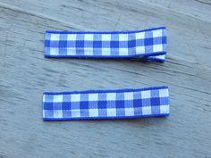 Blue Plaid Ribbon Hair Clips - Blue Ribbon Hair Clips - Toddler Hair Clips - Plaid Hair Clips by Sapphire107 on Etsy
