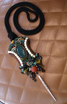 Chic Bloodstone bead embroidery  Long Necklace by ARTSTUDIO51