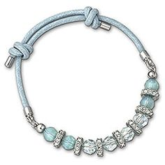 Bright and refreshing, this bracelet sparkles in Light Azore and Pacific Opal crystal beading with rhodium-plated finishings. The sky blue wax cotton cord features an adjustable knotting mechanism for maximum comfort. Stack it with other Polly bracelets for an on-trend look.