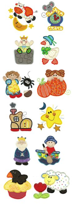 Embroidery | Free Machine Embroidery Designs | Jumbo Nursery Rhymes Applique Set 1