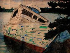 Beached at Tangier Nova Scotia. Colored Pencil Sketch by Larry Matthews Tangier, Coloured Pencils, Nova Scotia, Teaching Art, Fishing Boats, Ottawa, Art World, Restoration, Instagram Images
