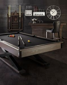 Another excuse to stay home: game night in with our Hendrix pool table & bar set. Another excuse to stay home: game night in with our Hendrix pool table & bar set🍸🎮🎯More ga Billards Room, Pool Table Room, Pool Tables, Pool Table Lighting, Office Pool, Le Riad, Game Room Bar, Ultimate Man Cave, Man Cave Basement