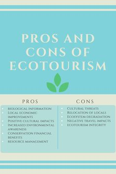 the pros and cons of ecotourism Although most of the debate on the pros and cons of ecotourism lies around the environmental and economical aspects, it is also important to consider the cultural and social impacts also as tourists visit local indigenous people and exotic landscapes and wildlife, there is a cultural education to be found.