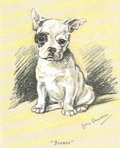 Lucy Dawson Dog Print MATTED French Bulldog w// Cat