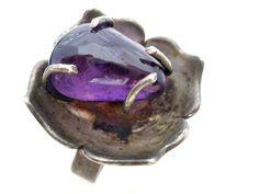 Signed Far Fan 6 Carat Amethyst Sterling Silver Adjustable Mexico Ring Vintage | eBay