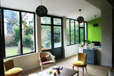 Extension d'une maison, salon, bureau. #extension #agrandissement #menuiserie #aluminium #initiales #lyon