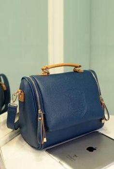 Crested Royal Blue Handbag