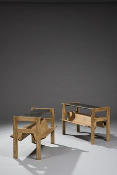 Jacques Adnet; Limed Oak, and Leather Side Tables, 1950s.