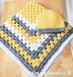 Baby Travel Blanket Gift Set  Yellow & Gray by SimpleStitchesLB, $35.00
