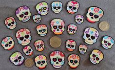 12 Pc Retro Day of Dead Sugar Skulls No Sew Iron On by TDFT