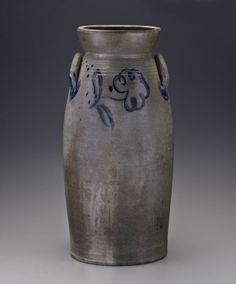 "Churn attributed to Stephen B. Sweeney, Henrico County, Virginia, 1838-1863. Salt-glazed stoneware, 5 gallons. H. 21 7/8""."