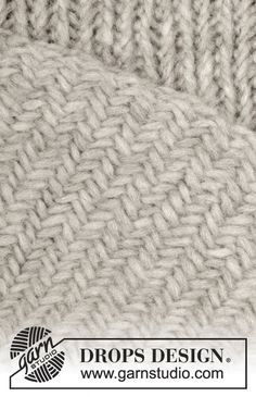 """Fisherman's Wife - Gestrickte DROPS Decke in """"Cloud"""" mit Fischgrätmuster. - Free pattern by DROPS Design"""