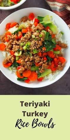 Teriyaki Turkey Rice Bowl is a delicious medley of tender-crisp vegetables, saucy meat and tasty rice all in one flavorful bowl. #teriyaki #turkey #hellofresh Pasta Dinner Recipes, Lunch Recipes, Healthy Recipes, Savoury Recipes, Rice Recipes, Hello Fresh Recipes, Indian Food Recipes, Ethnic Recipes
