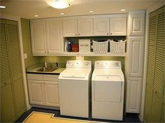 laundry room shelves with laundry box