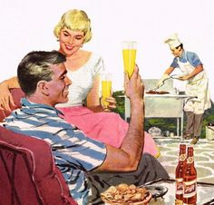 Beer on the patio - detail from 1956 Schlitz ad.