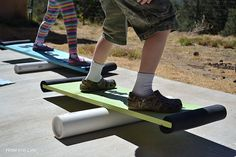 Creating Family Fun: Balance Boards  she notes to use old bike tires on edges.  They also spray painted their boards and then put decals on, instead of duct tape.  They tried 2 diff diameters of PVC pipe.
