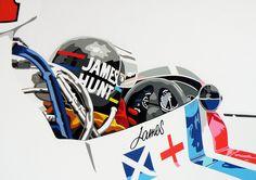 James Hunt. Hesketh F1. Hand cut vinyl on A3 board.