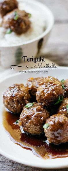 These teriyaki meatballs are an easy and delicious Japanese dish to make for dinner! Meatball Recipes, Beef Recipes, Cooking Recipes, Meatball Subs, Meatloaf Recipes, Japanese Dishes, Japanese Food, Japanese Recipes, Teriyaki Meatballs