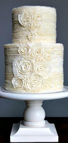 Romantic Buttercream Ruffle Wedding Cake