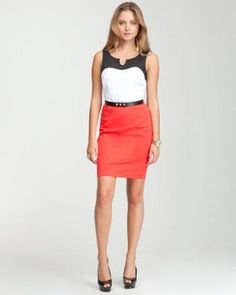 4678e10945 Thrift Fashion, Office Dresses, Colorblock Dress, Office Fashion, Skirt  Outfits,