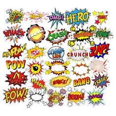 INSTANT DOWNLOAD - Superheroes Pop Art Text, Bubbles Clipart, Comic Clipart, Superhero Party Theme, Superhero Clipart, Digital Comic Text Superhero Comic Clipart comes with its own file in transparent PNG format. You can resize the letters and use them for invitations, web/blog design,