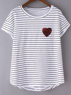 Camiseta rayas lentejuelas corazón -negro blanco