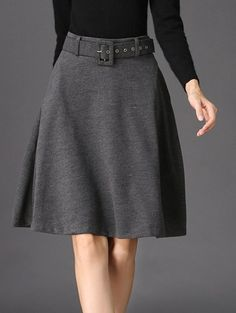 Belted Winter Skater Skirt - GRAY L