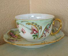Vintage Limoges France AL Lanternier Hand Painted Lusterware Cup & Saucer Set #Limoges
