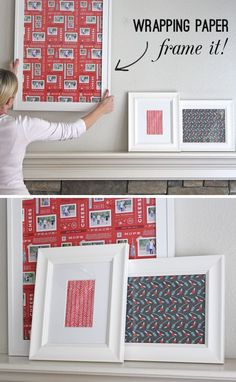 The bigger frames, wrapping paper as a     mat and kid's santa pictures