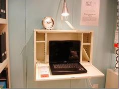 Folding wall desk plans Transformer furniture design idea for small Desks hand picked by Pinner Becky MacKay See more about Ikea Folding Desk, Folding Walls, Ikea Desk, Wall Mounted Desk Ikea, Ikea Wall, Wall Desk, Furniture Projects, Diy Furniture, Fold Down Table