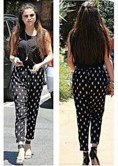 Selena Gomez 2014 street style #printed pants #long #hair